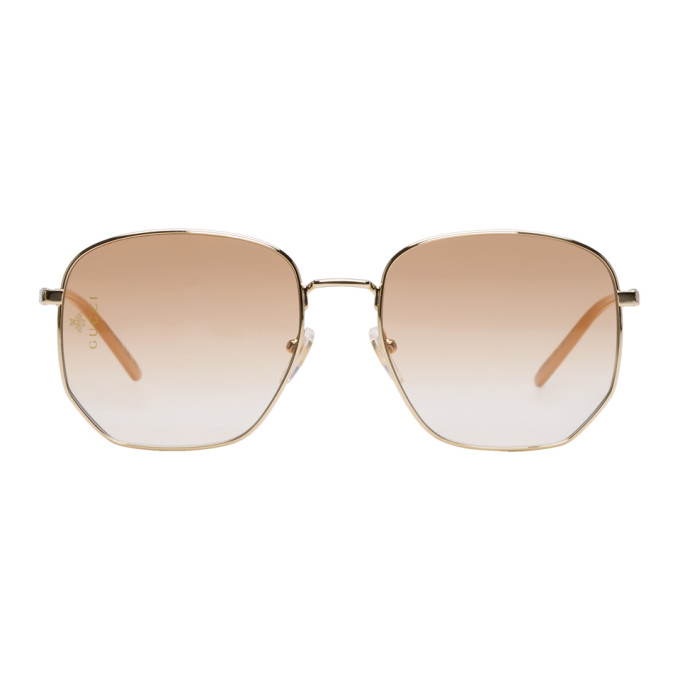 Gucci Gold Geometric Sunglasses