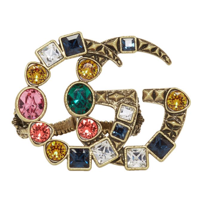 6fb440ff5 Gucci Gold and Multicolor Crystal GG Multi Finger Ring