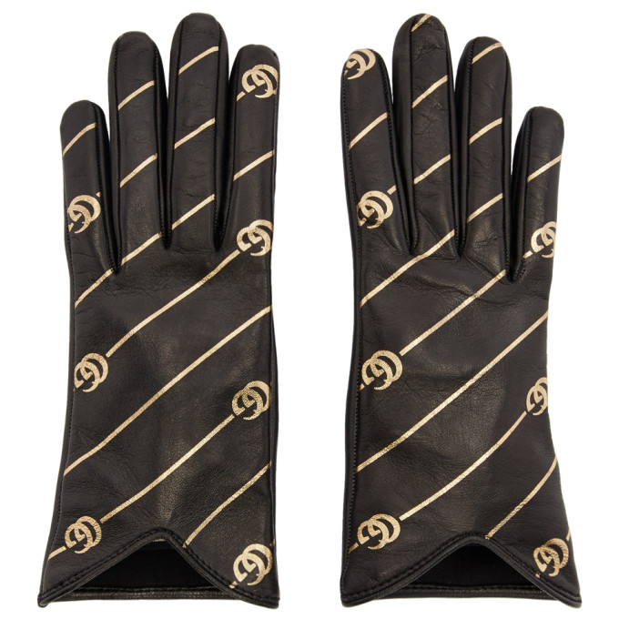 Gucci Black and Gold Leather GG Gloves