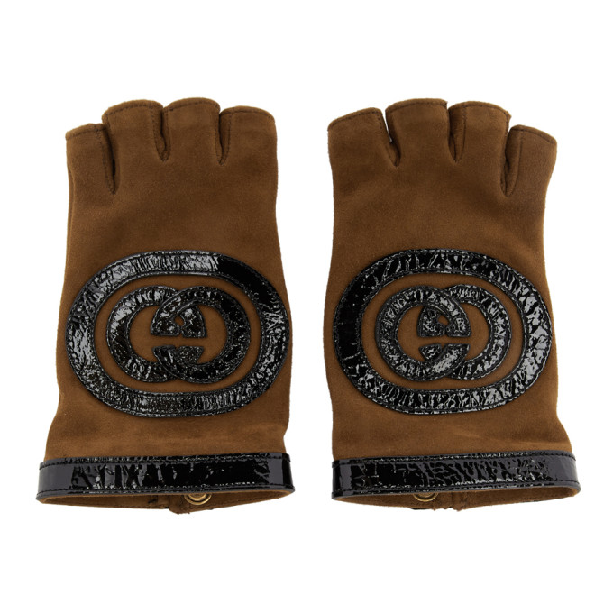 Suede And Leather Fingerless Gloves in 2560 Brown