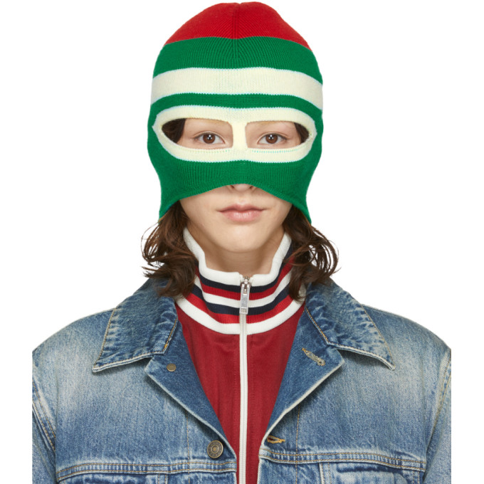4adb920fd73 Gucci - Striped Wool Balaclava - Womens - Green