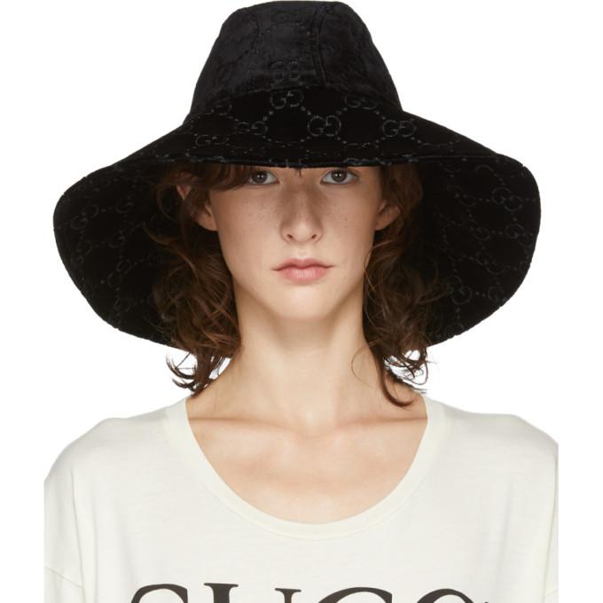 Gucci Black Velvet Gg Supreme Fedora, 1000 Black