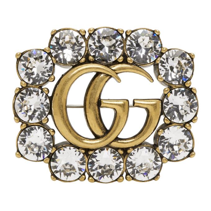Gucci Gold Crystal GG Brooch