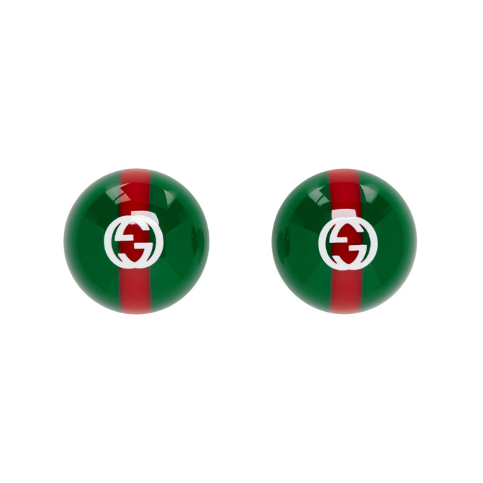 Gucci Green & Red Vintage Web Earrings
