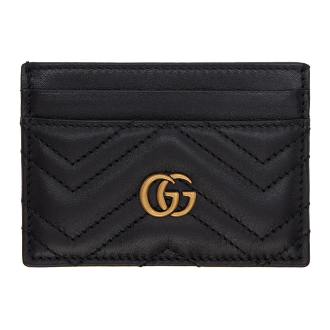Gg Marmont 2.0 Leather Card Holder in 1000 Black