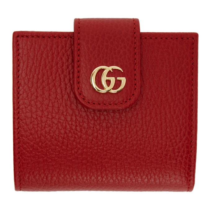 Gucci Red Small Marmont Snap Card Case Wallet