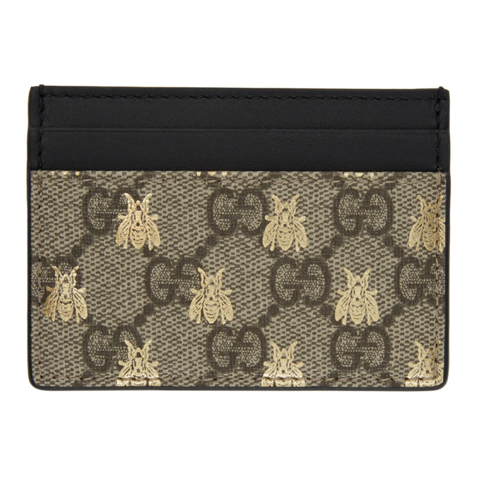 Image of Gucci Beige & Black GG Supreme Bees Card Holder