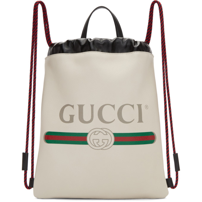 7c766f58dba Gucci White Small Logo Drawstring Backpack