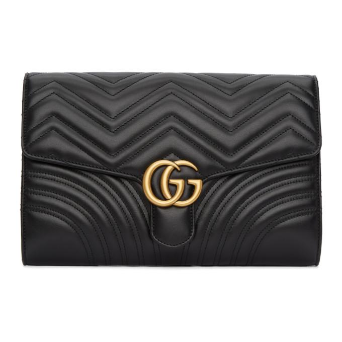 Gucci Black Medium GG Marmont 2.0 Clutch