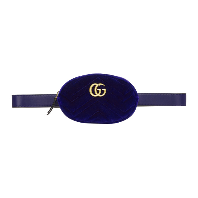 Gucci Blue Velvet GG Marmont 2.0 Belt Bag