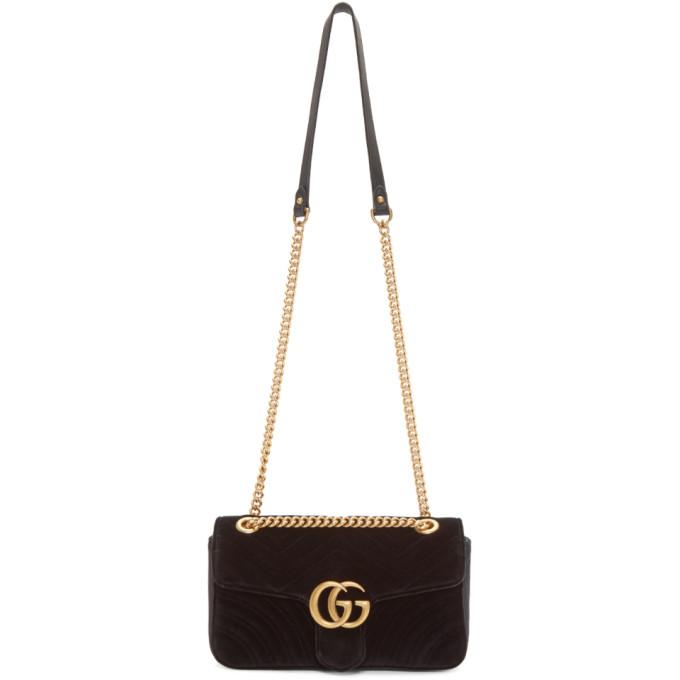 Gucci Black Small Velvet Marmont 2.0 Bag