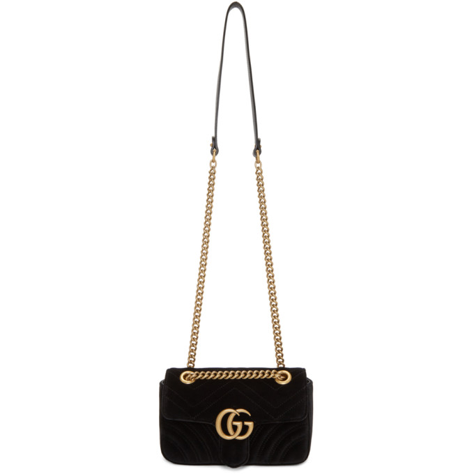 Gucci Black Mini Velvet Marmont 2.0 Bag