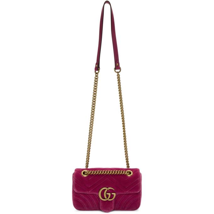 Gucci Pink Mini Velvet Marmont 2.0 Bag