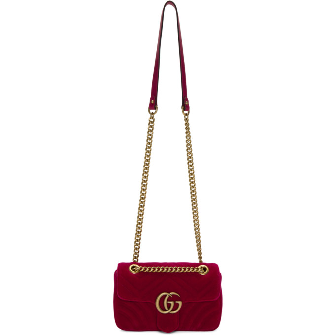 Gucci Red Mini Velvet Marmont 2.0 Bag