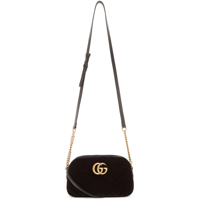 Gucci Black Velvet Small GG Marmont 2.0 Bag
