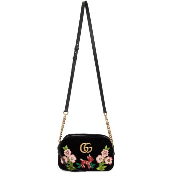 Gucci Black Small Velvet GG Marmont 2.0 Camera Bag