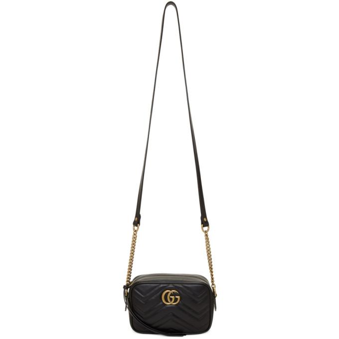 Gucci Black Mini GG Marmont 2.0 Camera Bag