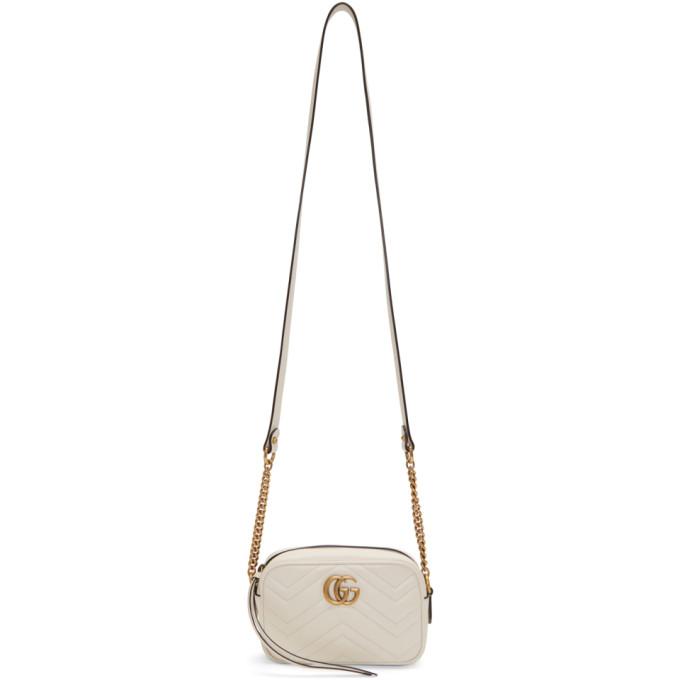 Gucci White Mini GG Marmont 2.0 Camera Bag