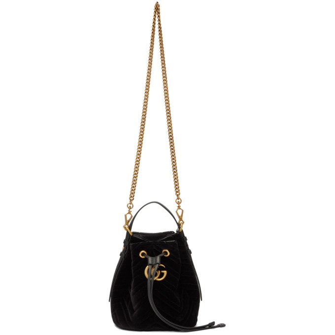 Gucci Black Suede Quilted GG Marmont 2.0 Bucket Bag
