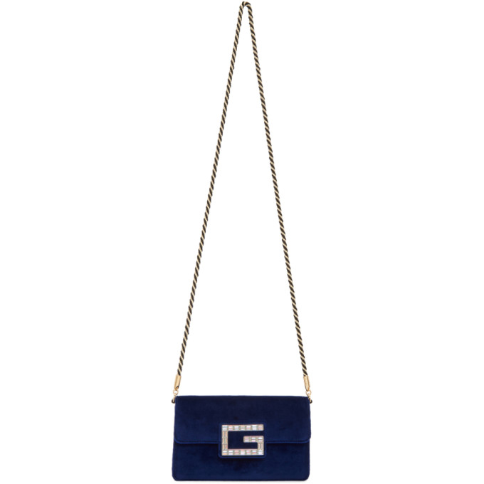 Gucci Blue Small Velvet Broadway Bag