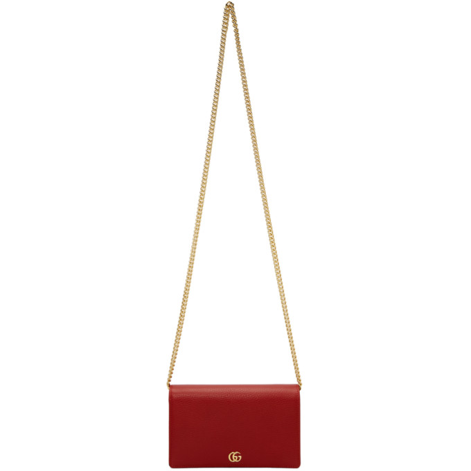 Gucci Red Small Marmont Chain Bag