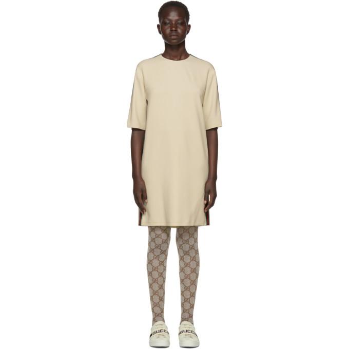 Gucci オフホワイト ウェビング T シャツ ドレス