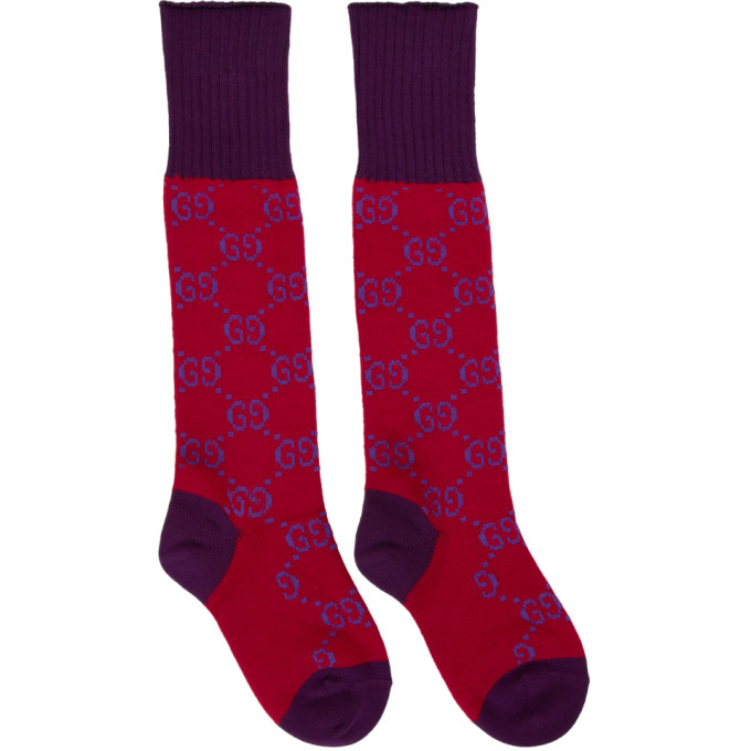 6b510f8753d Gucci Red and Purple GG Supreme Long Socks
