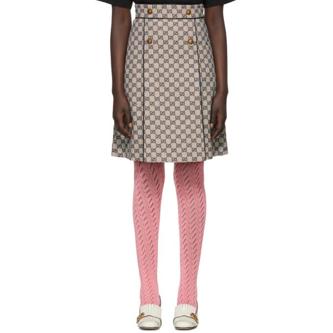 Gucci オフホワイト & ネイビー GG ロゴ ミニスカート
