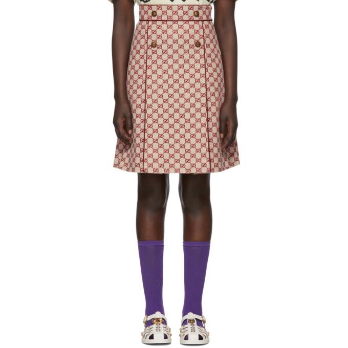 Gucci オフホワイト & レッド GG A ラインミニスカート