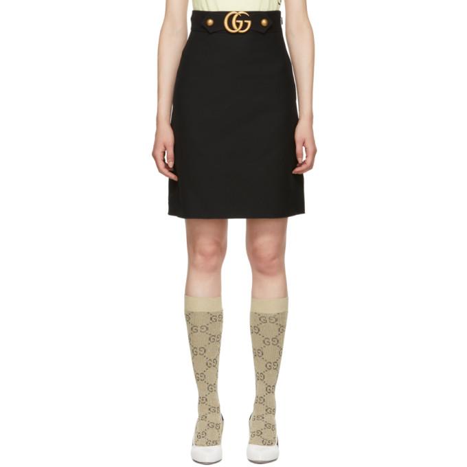 Gucci ブラック ウール GG Aライン スカート