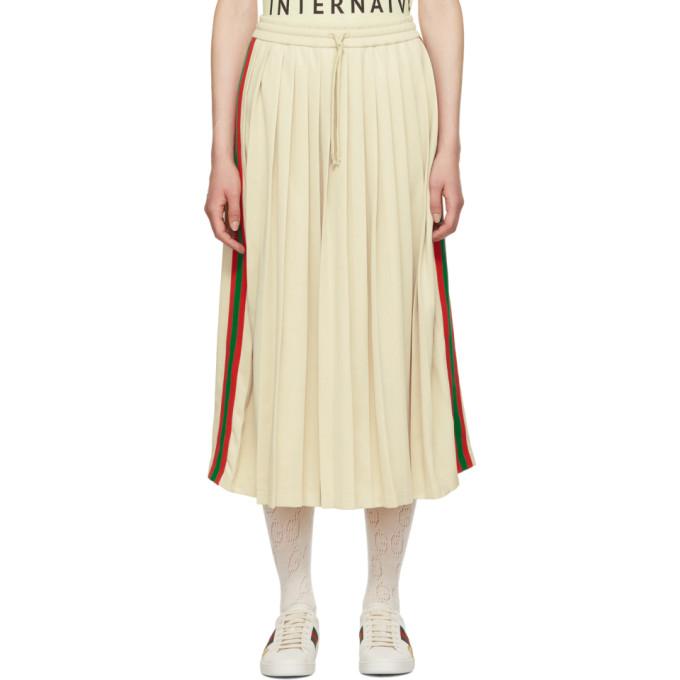 Gucci ホワイト プリーツ ウェビング ドローストリング スカート