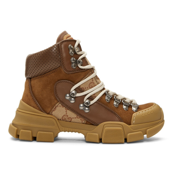 Gucci Beige & Brown Flashtrek Boots