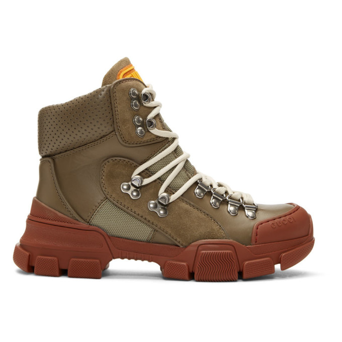 Gucci Khaki & Red Flashtrek Boots