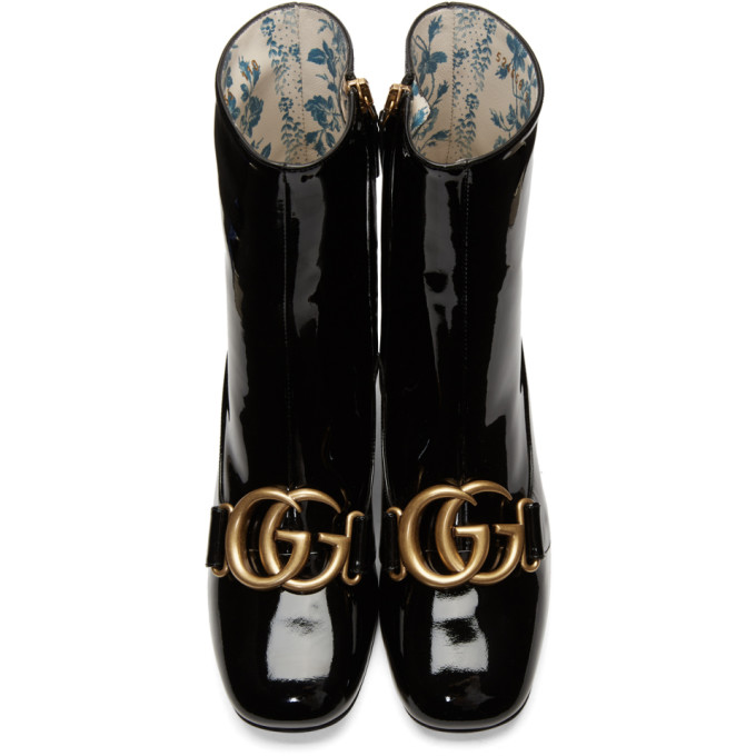 Gucci Embellished Patent Leather Ankle Boots - Black Size 6.5