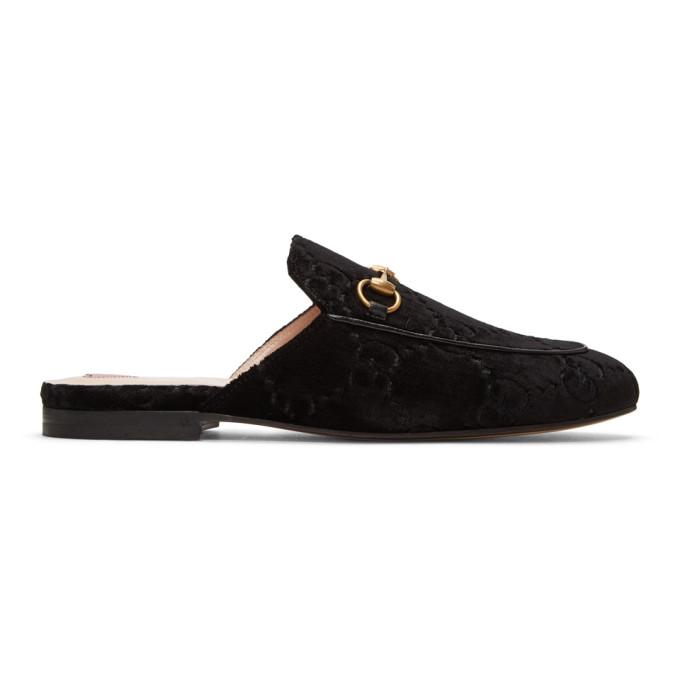 Gucci Black Velvet GG Princetown Slippers
