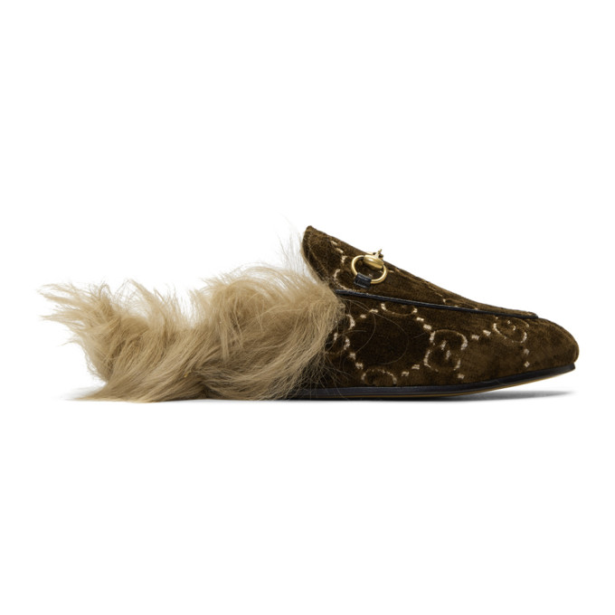 Gucci Brown Wool-Lined Velvet GG Princetown Slippers