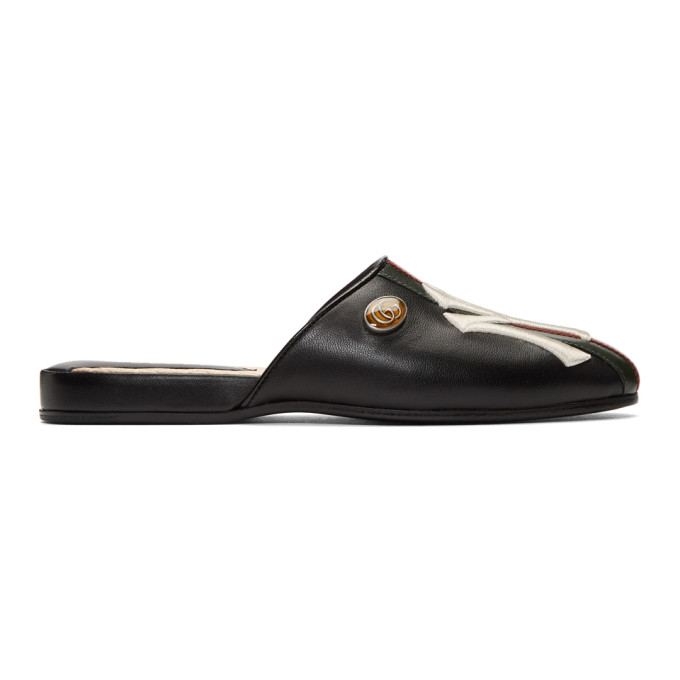 Gucci Black NY Yankees Edition Flamel Patch Slippers