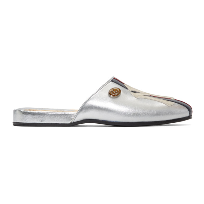 Metallic Leather Slippers With Ny Yankees™ Patch in Silver