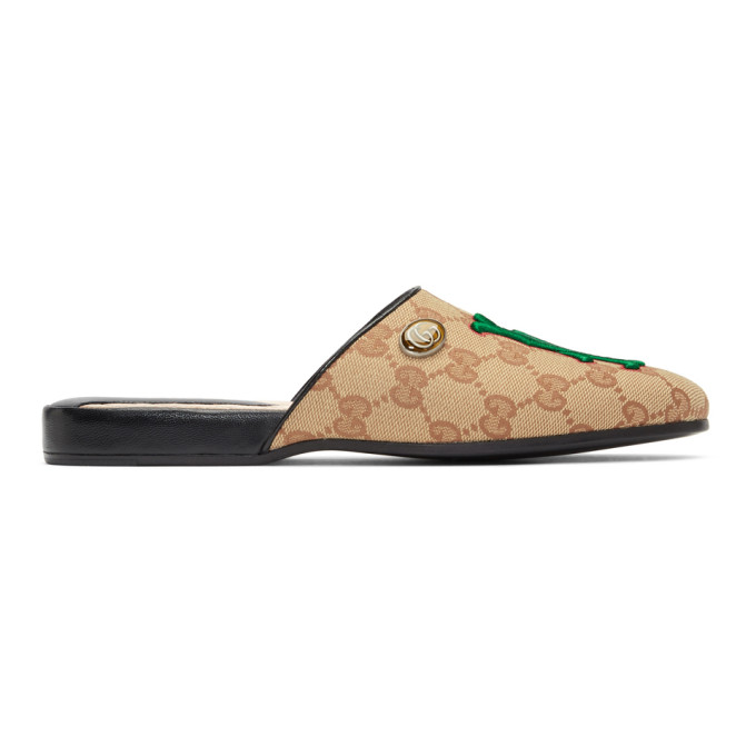 Gucci Beige LA Dodgers Edition Flamel Patch Mules