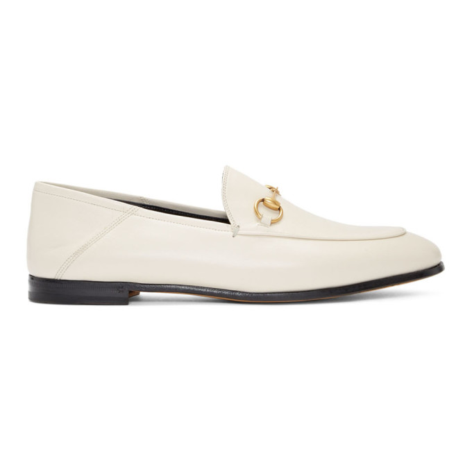 Gucci White Brixton Crushback Loafers