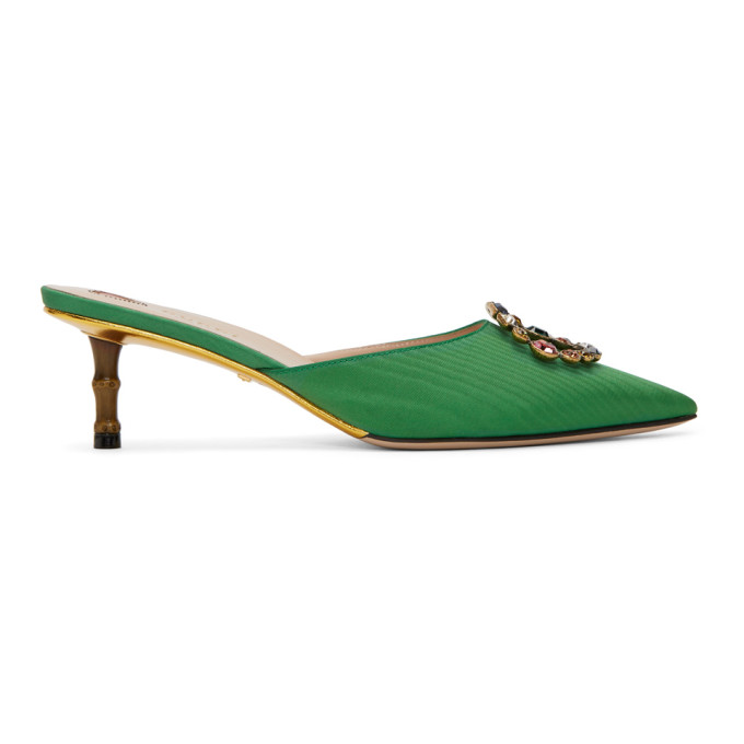 Gucci Green Unia Bamboo Heel Mules