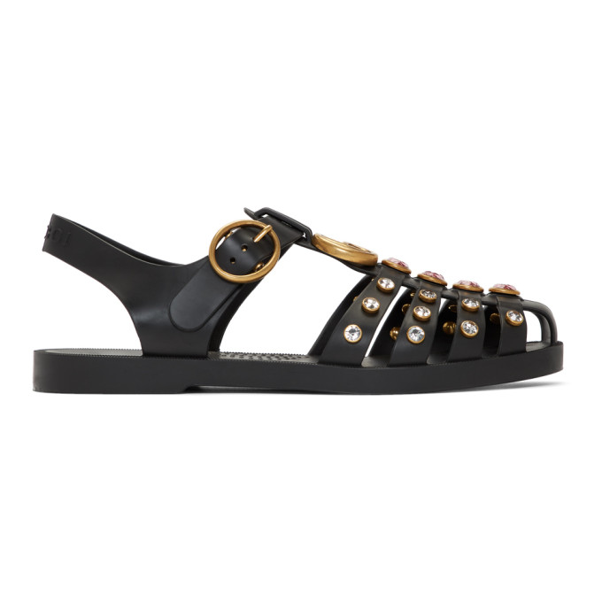 Gucci Black Crystal Cage Sandals