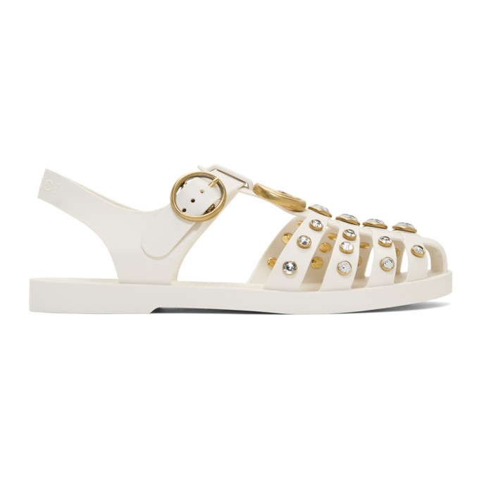 Gucci White Crystal Cage Sandals