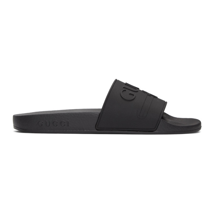 Gucci Black Pursuit Pool Slides