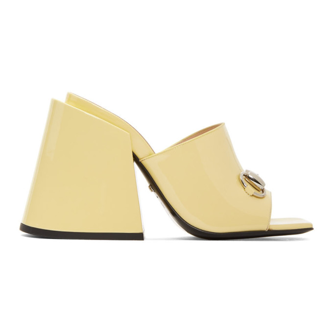 Gucci Yellow Patent Lexi Horsebit Sandals