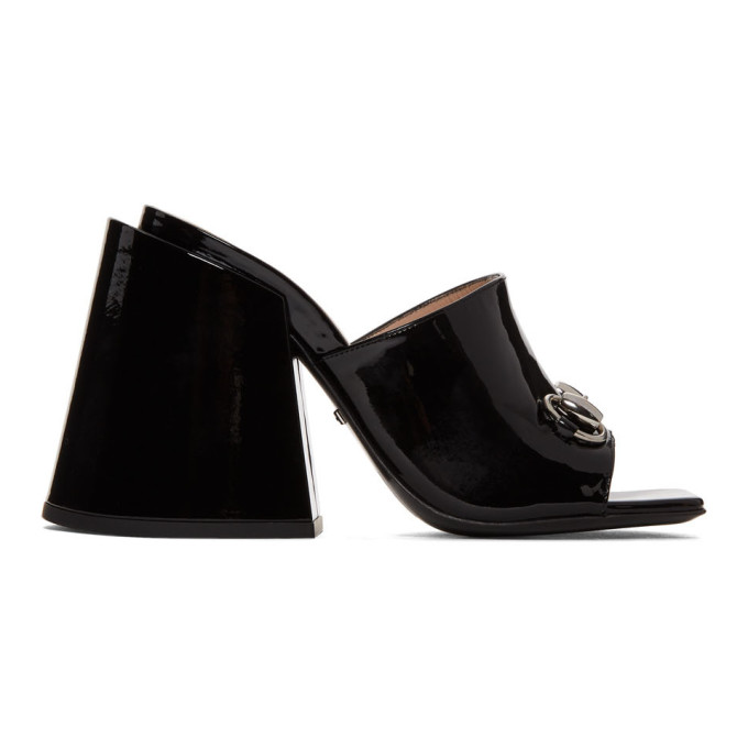 Gucci Black Patent Lexi Horsebit Sandals