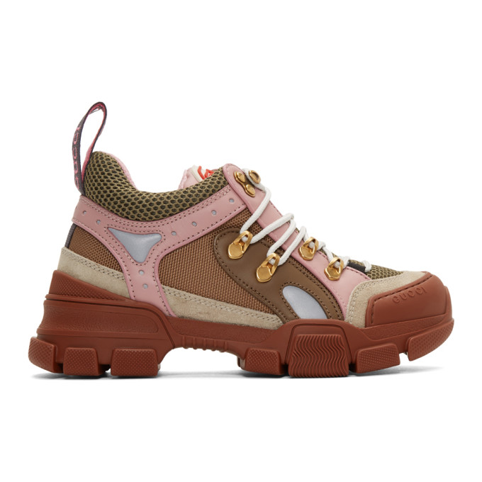 Gucci Brown and Pink Flashtrek Sneakers