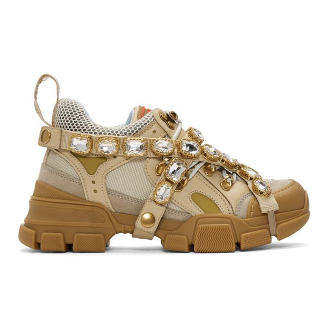 Gucci Beige Crystal Flashtrek Sneakers