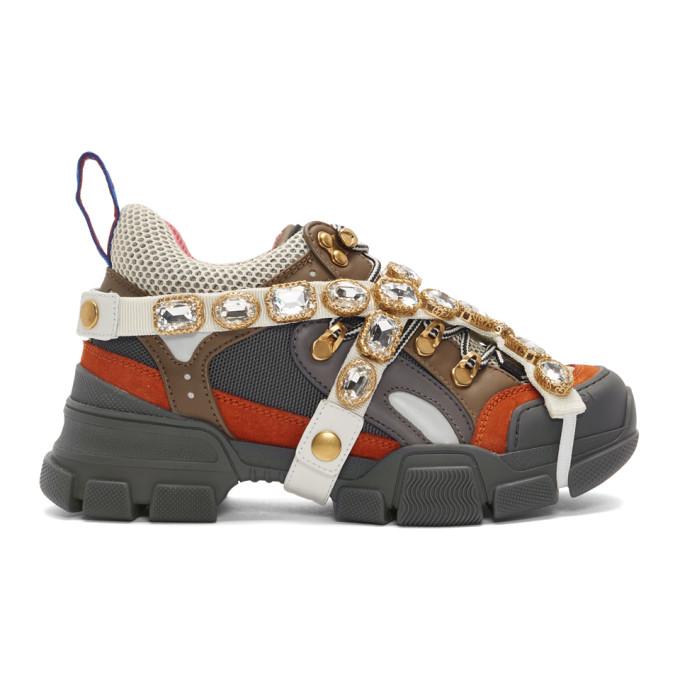 Gucci Grey and Orange Flashtrek Sneakers