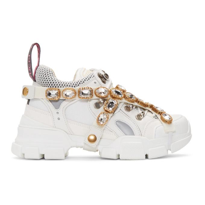 Gucci White Crystal Flashtrek Sneakers